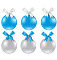 Christmas Silver And Blue Ball vector image