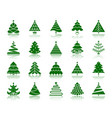 christmas tree color silhouette icons set vector image