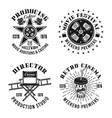 cinema set four monochrome retro emblems vector image
