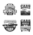 Classic muscle car vintage labels logo vector image