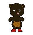 comic cartoon happy teddy bear in boots vector image vector image