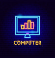 computer neon label vector image