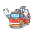 diving fire truck character cartoon vector image