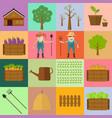 farmer man and woman farming icon vector image
