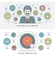 Flat line Business Planning and Video Marketing vector image vector image