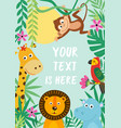 frame with tropical animals vector image vector image
