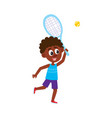 funny black african american boy playing badminton vector image