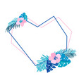 geometric heart summer wreath with flower tropical vector image