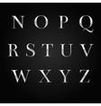 glossy silver font design set over black vector image vector image