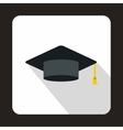 Graduation cap icon flat style vector image vector image