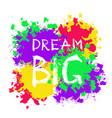 grunge motivational poster dream big vector image vector image