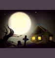 halloween gloomy night landscape big full moon in vector image