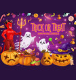 halloween pumpkins with candies ghosts and devil vector image