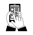 hand smartphone document select options vector image