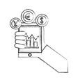 hand with smartphone chart business coins dollar vector image vector image