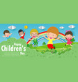 happy children day background group of kids jump vector image vector image