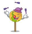 juggling candy apple mascot cartoon vector image