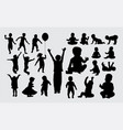 kid and baby playing silhouettes vector image vector image
