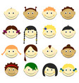 kids face set portraits with vector image vector image