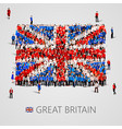 large group of people in the great britain flag vector image vector image