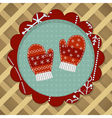 Little cute pair of red mitten vector image vector image