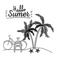 monochrome poster of hello summer with landscape vector image vector image