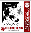 mountain climbing and logos emblems vector image vector image
