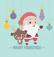 reindeer and santa christmas greeting vector image