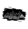 sao paulo brazil city skyline silhouette hand vector image vector image