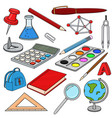 school doodle colored set of stationery tools vector image