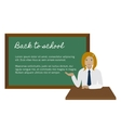 School girl presenting something on chalkboard vector image vector image