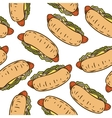 Seamless Pattern with Tasty Hot Dog