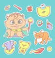 set color sketch stickers of vector image vector image
