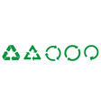 set green recycle icons vector image