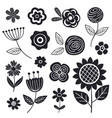 set isolated black flowers part 1 vector image vector image