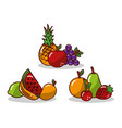 set of fruit fresh tasty apple pineapple grape vector image vector image