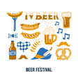 set of hand drawn traditional beer festival vector image