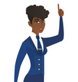 stewardess with open mouth pointing finger up vector image