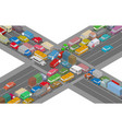 traffic jam isometric cars and houses for vector image vector image