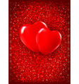 Valentines day background Two red hearts on red vector image