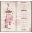 Vintage wine menu design Document template vector image vector image