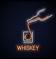 whiskey glass neon banner bottle of whisky neon vector image