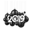 white festive 2019 new year card with black vector image vector image