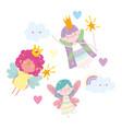 winged little fairies princess tale cartoon magic vector image