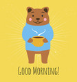 with bear standing with cup tea or coffee and vector image