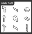 work shop outline isometric icons vector image vector image