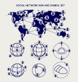 world social network and symbol set vector image vector image