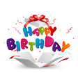 happy birthday out of the box with confetti vector image