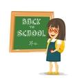 Schoolgirl with backpack near blackboard vector image