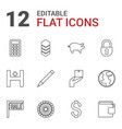 12 business icons vector image vector image